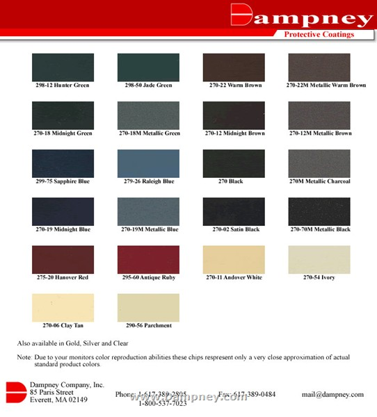 Stove Paint Color Card